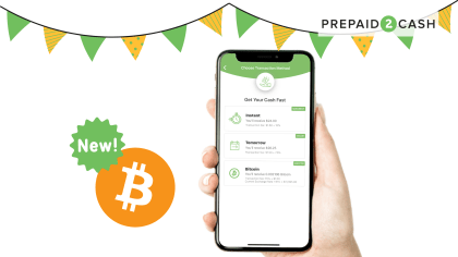 Picture of Prepaid2Cash app showing bitcoin has been added